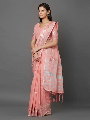 Peach-Coloured Solid Linen Blend Saree
