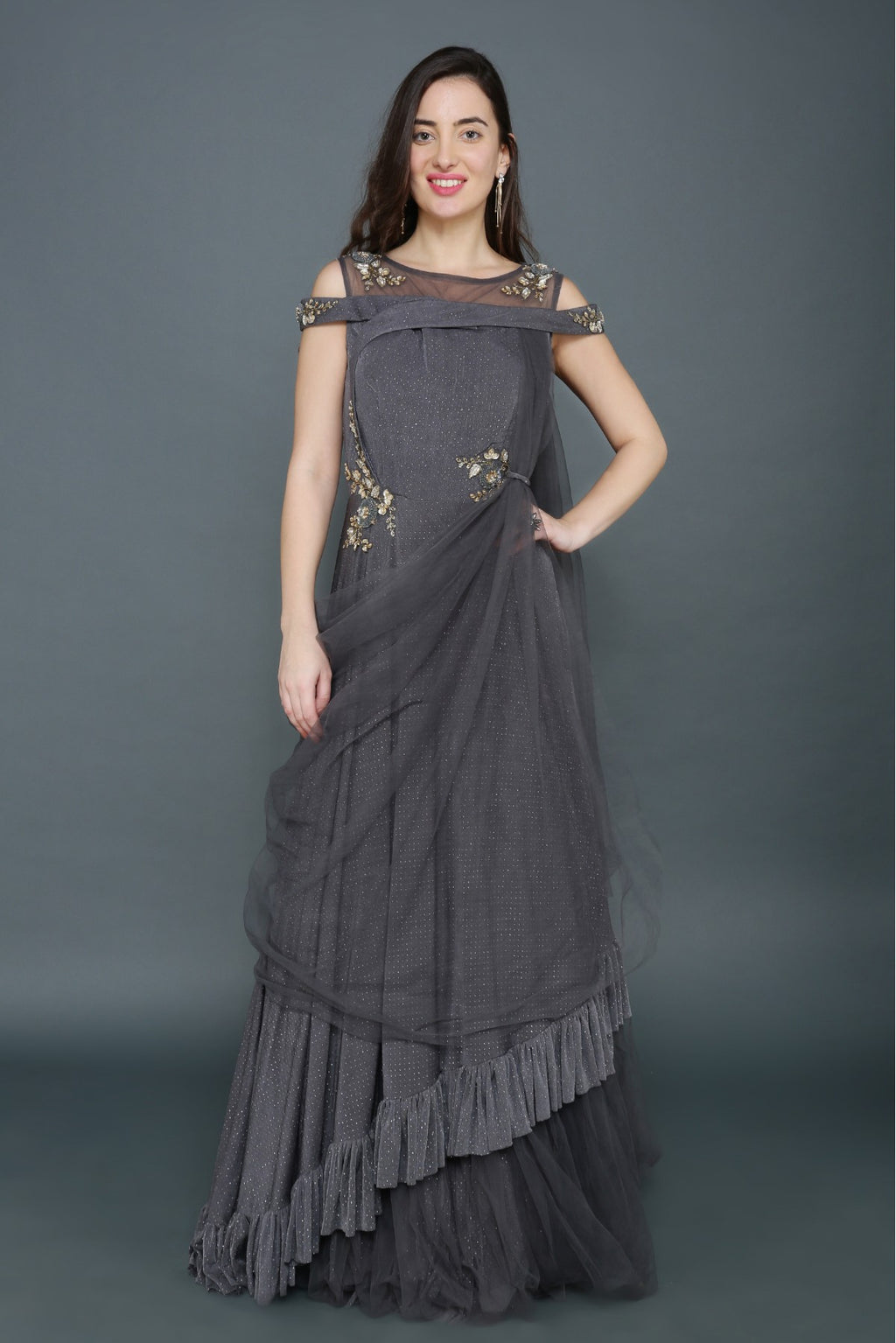 Lycra And Net Sequins Work Gown In Grey Colour