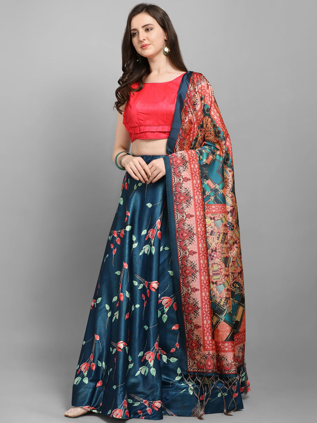 Teal Blue & Pink Solid Unstitched Lehenga & Blouse with Dupatta