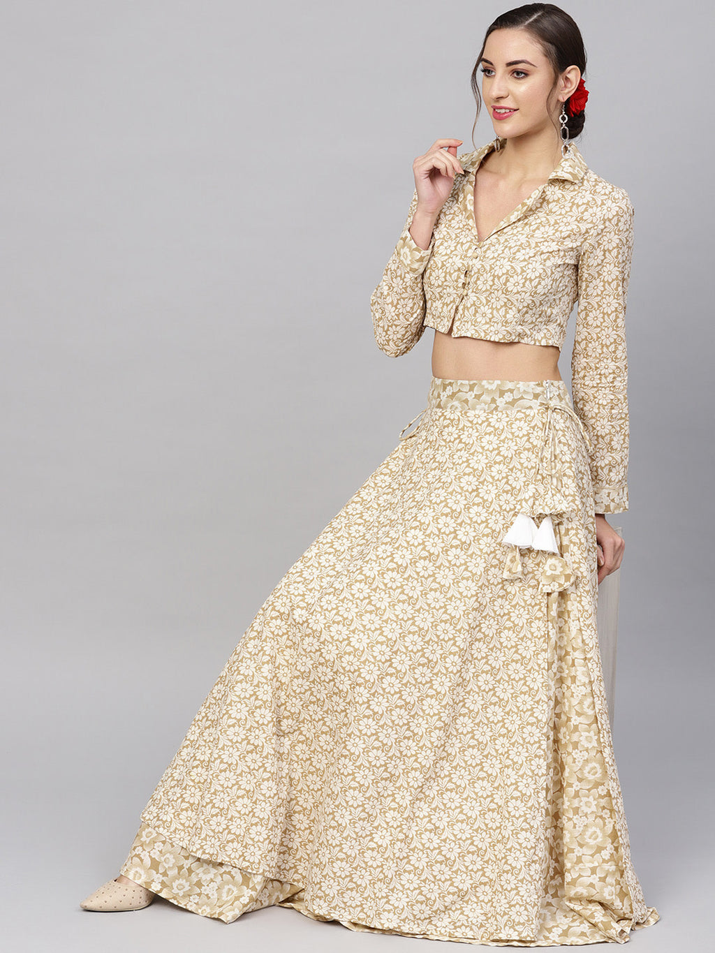 Women Beige & Off White Printed Ready to Wear Lehenga with Blouse