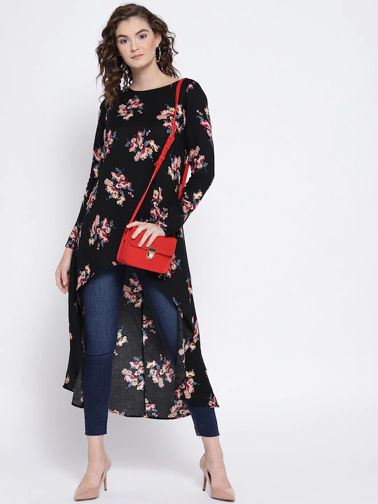 Women Black Floral Printed High-Low Top