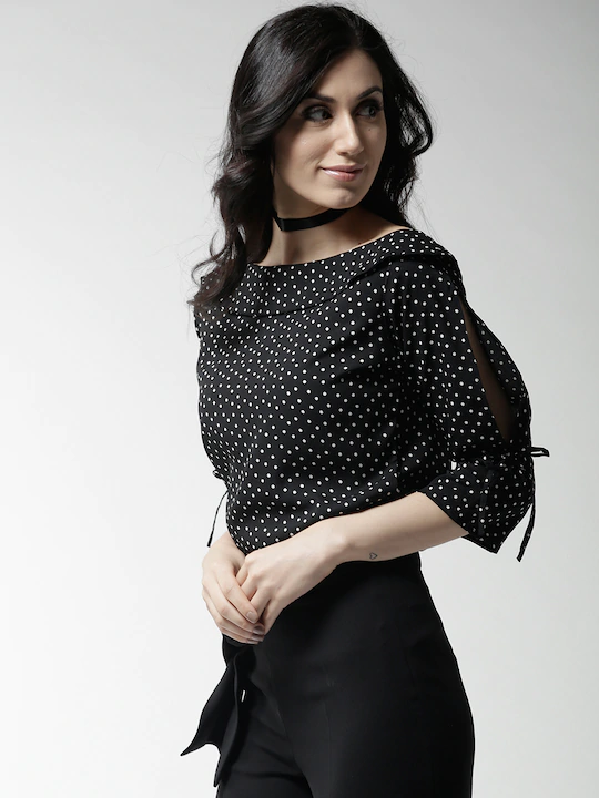 Women Black Polka Dot Print Top