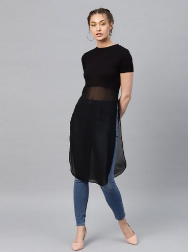 Women Black Solid Semi-Sheer Longline A-Line Top