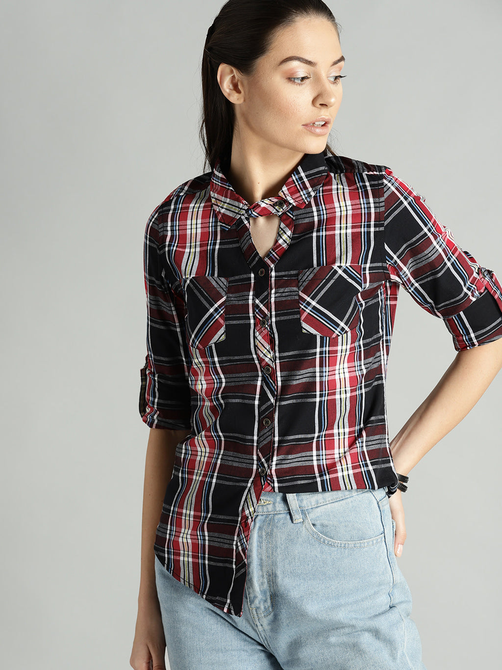 Women Black & Red Regular Fit Checked Casual Shirt
