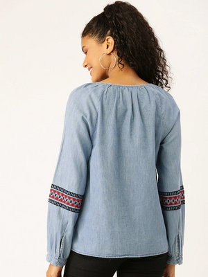 Women Blue Embroidered Detail Top