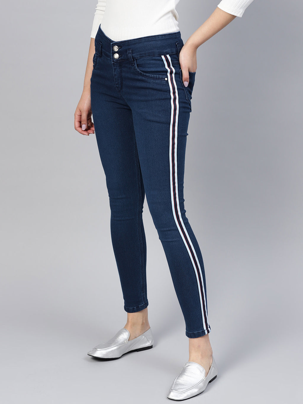 Women Blue Skinny Fit High-Rise Clean Look Stretchable Jeans