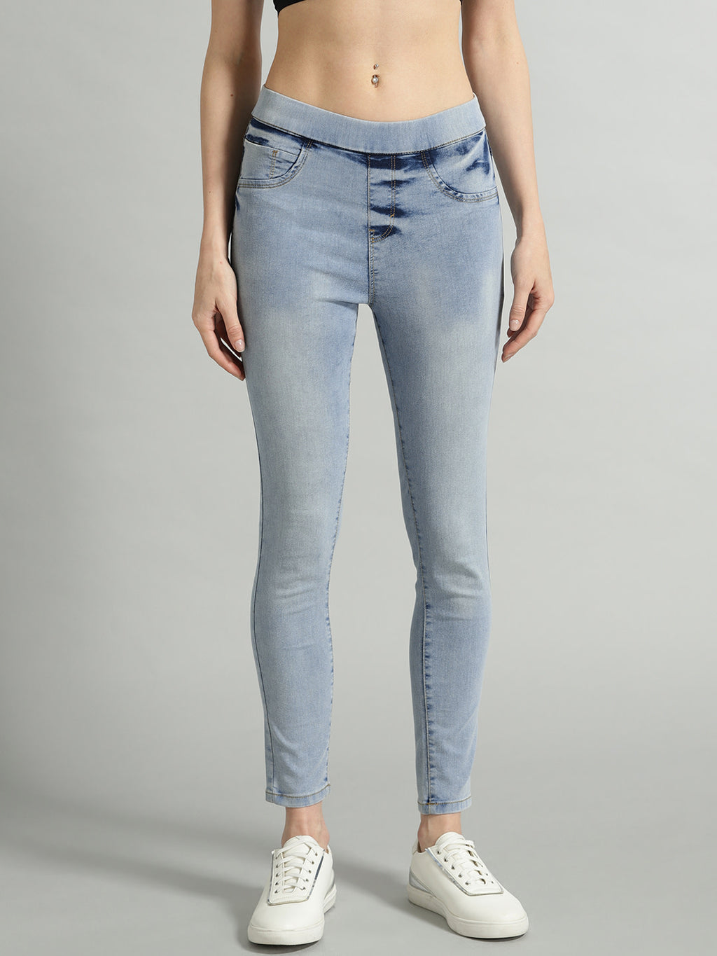 Women Blue Washed Super Skinny Fit Cropped Jeggings
