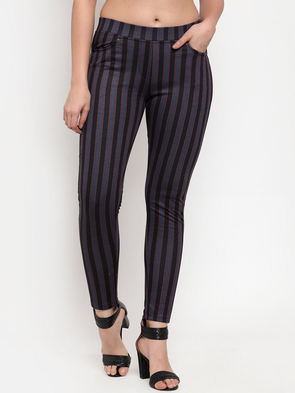 Women Blue & Grey Striped Skinny-Fit Jeggings