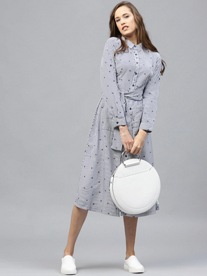 Women Blue & White Striped Shirt Dress