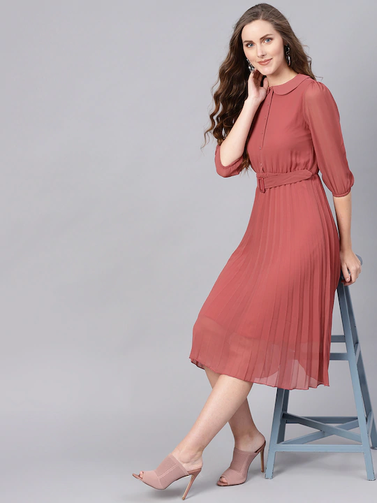 Women Dusty Pink Solid Accordian Pleat A-Line Dress