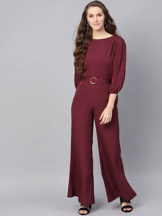 Women Maroon Solid Basic Jumpsuit