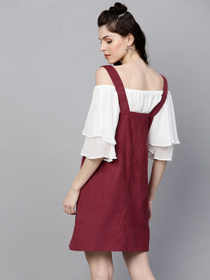 Women Maroon Solid Corduroy Pinafore Dress