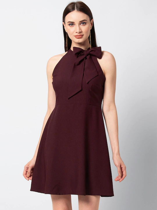 Women Maroon Solid Fit and Flare DressWomen Maroon Solid Fit and Flare Dress