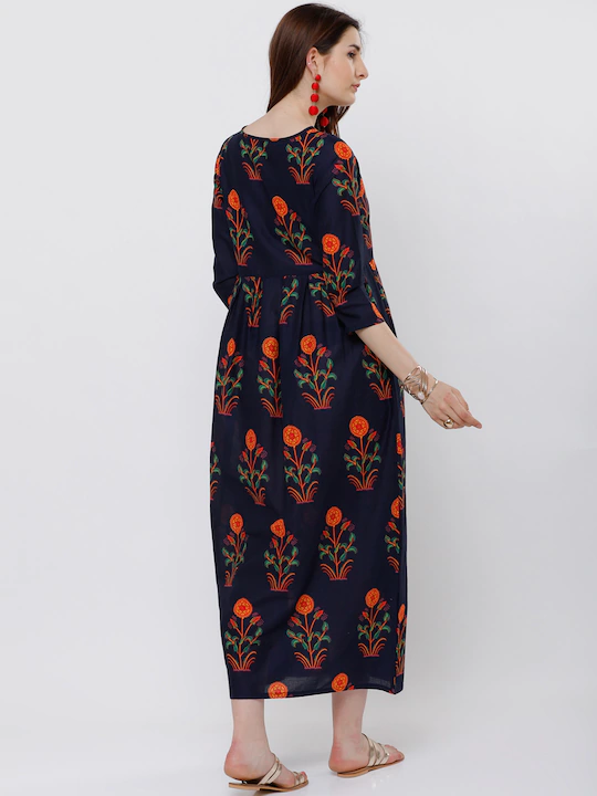 Women Navy Blue Floral Printed Ethnic Maxi Dress