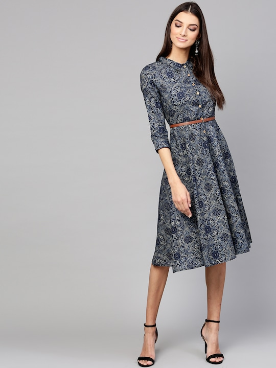 Women Navy Blue Printed A-Line Dress