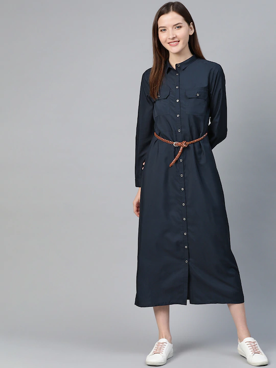 Women Navy Blue Solid Shirt Dress