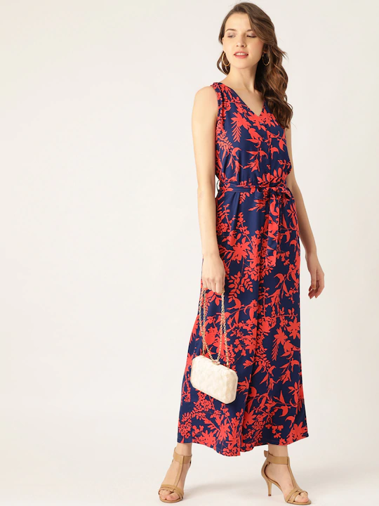 Women Navy Blue & Coral Orange Floral Print Basic Jumpsuit