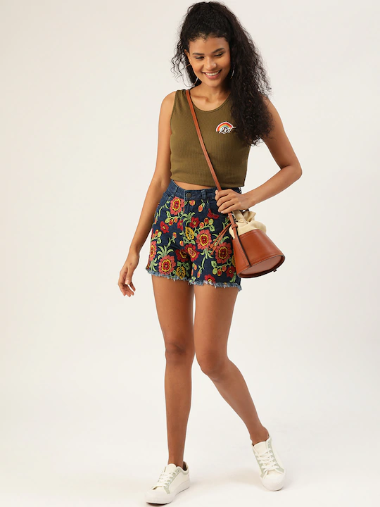 Women Navy Blue & Red Floral Embroidered High-Rise Regular Fit Denim Shorts