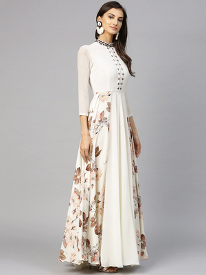 Women Off White & Brown Printed Maxi Dress