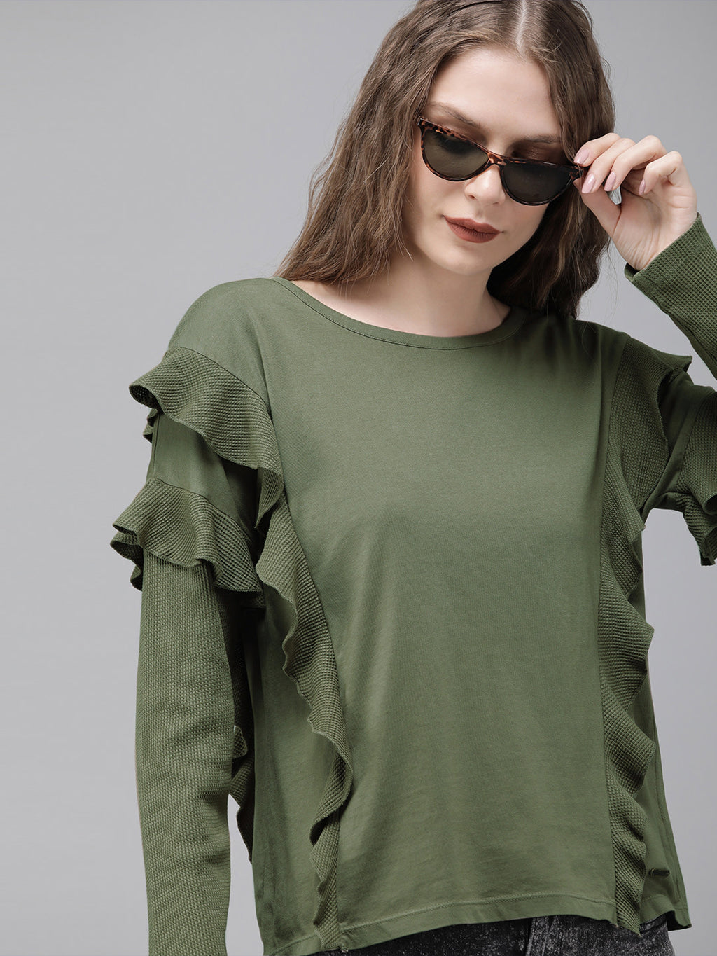 Women Olive Green Solid Ruffle Top