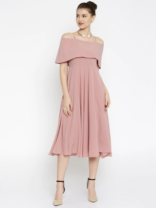 Women Pink Fit & Flare Off-Shoulder Midi Dress
