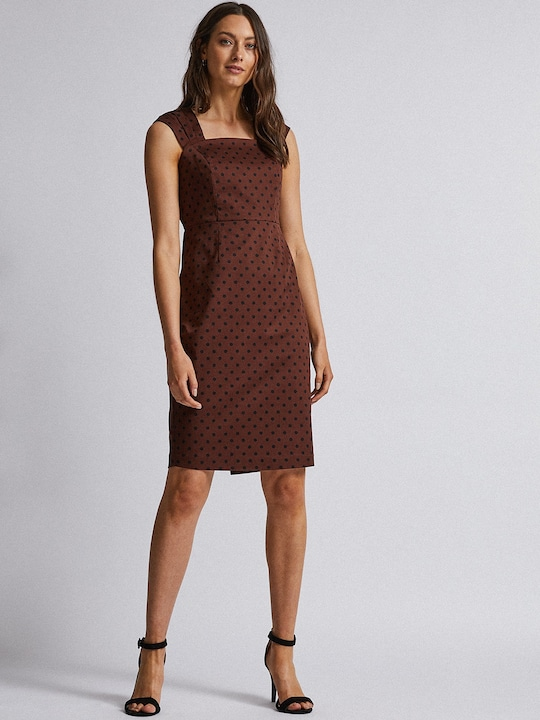 Women Rust Brown & Black Polka Dot Print Sheath Dress