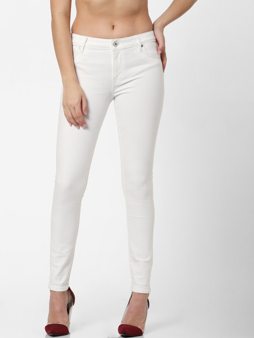 Women White Skinny Fit Mid-Rise Clean Look Stretchable Jeans