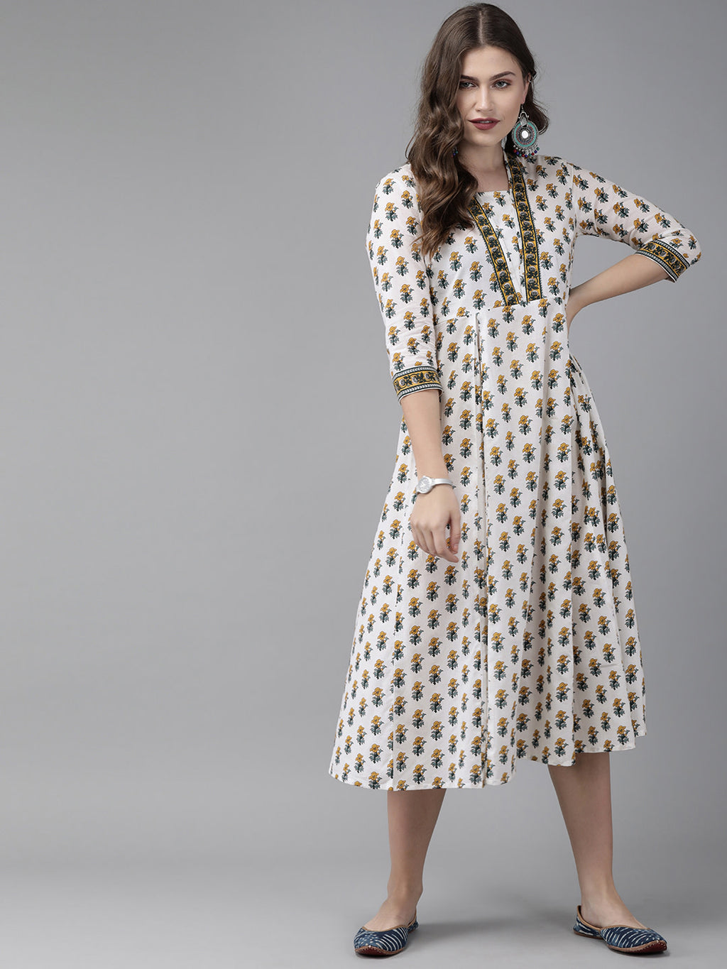 Women White & Mustard Yellow Printed Fit and Flare Dress With Gathered Detail