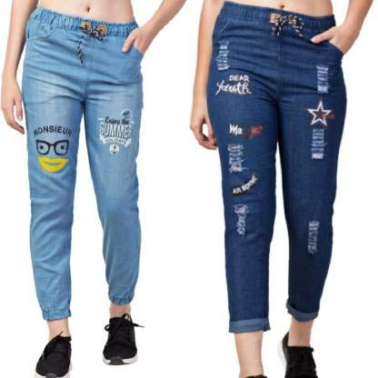 Women's Denim Slim Fit High Waist Ankle Length Jeans Combo (Free Size)
