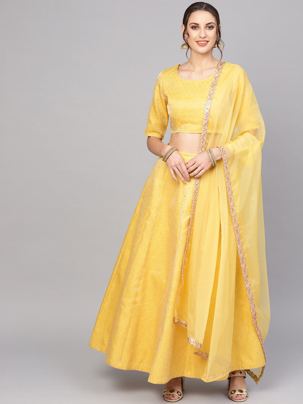 Yellow & Golden Woven Design Brocade Ready to Wear Lehenga with Blouse