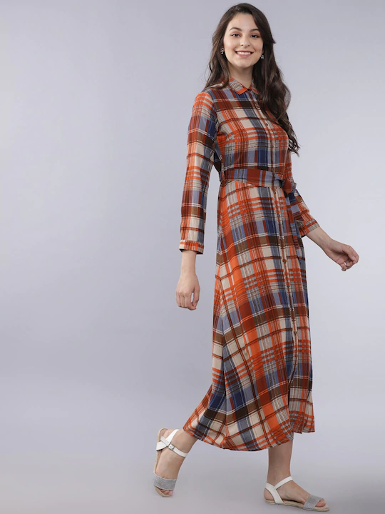 Women Beige & Rust Red Checked Shirt Dress