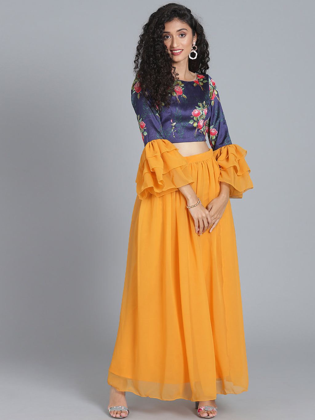 Navy Blue & Mustard Yellow Made to Measure Printed Lehenga with Blouse