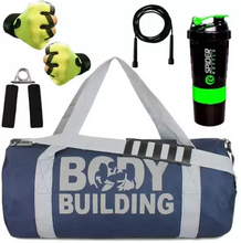 Load image into Gallery viewer, Combo of Body Building (Blue) Gym Bag Gloves (Green) Skipping Rope ,Hand Gripper and Spider Shaker (Green) Gym/Fitness Kit/Combo/Gym Accessories/Gym Kit/for Men and Women Gym & Fitness Kit