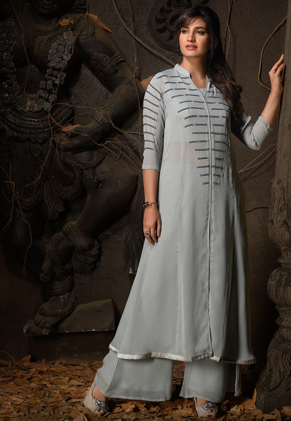 Embellished Georgette Front Slitted Kurta in Grey