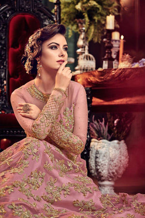 Blush pink embroidered net anarkali semi stitched
