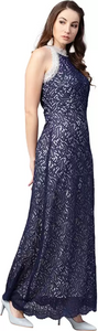 Women Fit and Flare Dark Blue Dress