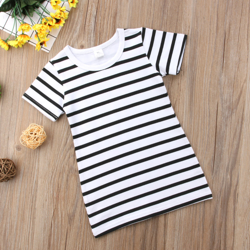 MilkySkinForever New Family Matching Outfits Mother&Daughter Dresses Women Baby Girls Striped Cotton Dress Casual Clothes Summer