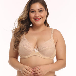 MilkySkinForever Sexy Women Lace Bra Plus size B C D E Cup Underwire Gather Adjustment Plunge Lingerie Bras For Women Embroidery Underwear BH Top