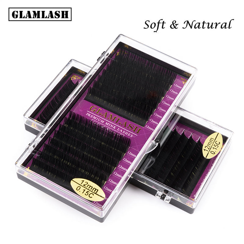 MilkySkinForever  6Rows JBCD Curl natural mink single eyelash extension premium individual fake false eye lashes extension