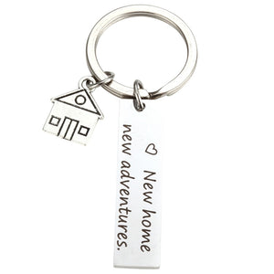 MilkySkinForever New Home New Adventures Keychain House Keys Keyring Moving Together First Home Funny Key Chains Housewarming Gift for Her or Him