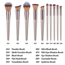 Load image into Gallery viewer, MilkySKinForever  Champagne Makeup Brushes Set Foundation Powder Blush Eyeshadow Concealer Lip Eye Make Up Brush Cosmetics Beauty Tools