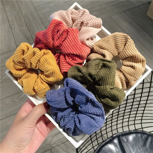 MilkySkinForever 6 Colors Women Warm Corduroy Big Hair Scrunchies Solid Soft Vintage Hair Gums Striped Fabric Rubber Bands For Hair Bun
