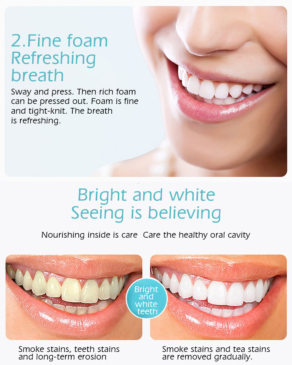 MilkySkinForever Tooth Whitening Cleaning Mousse Remove Plaque Stains Oral Odor Fresh breath Bright Teeth Toothpaste Dental Care Tool 60g