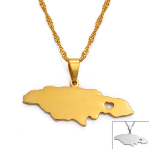 MilkySkinForever Anniyo Heart Jamaica Map Pendant Necklaces for Women/Girl Gold Color Jewelry Jamaican Patriotic Gifts #024621