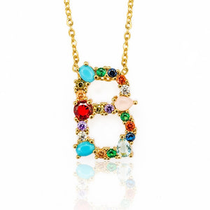 MilkySkinForever Multicolor charm Gold pendant necklace micro pave zircon initial 26 letter necklaces Couple Name necklace Christmas gift