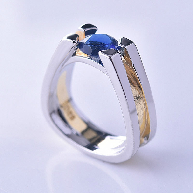 MilkySkinForever Unique Two Tone 925 Silver Blue Geometric Ring yellow gold Wedding Jewelry