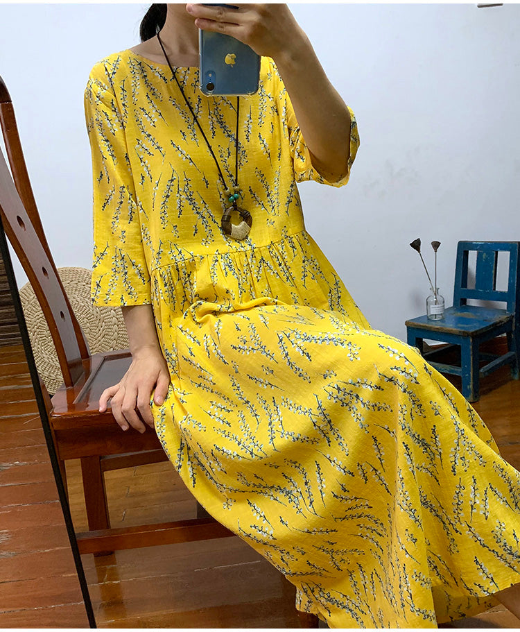 MilkySkinForever Summer thin floral cotton slub cotton dress loose and comfortable half sleeve waist long ankle-length dress