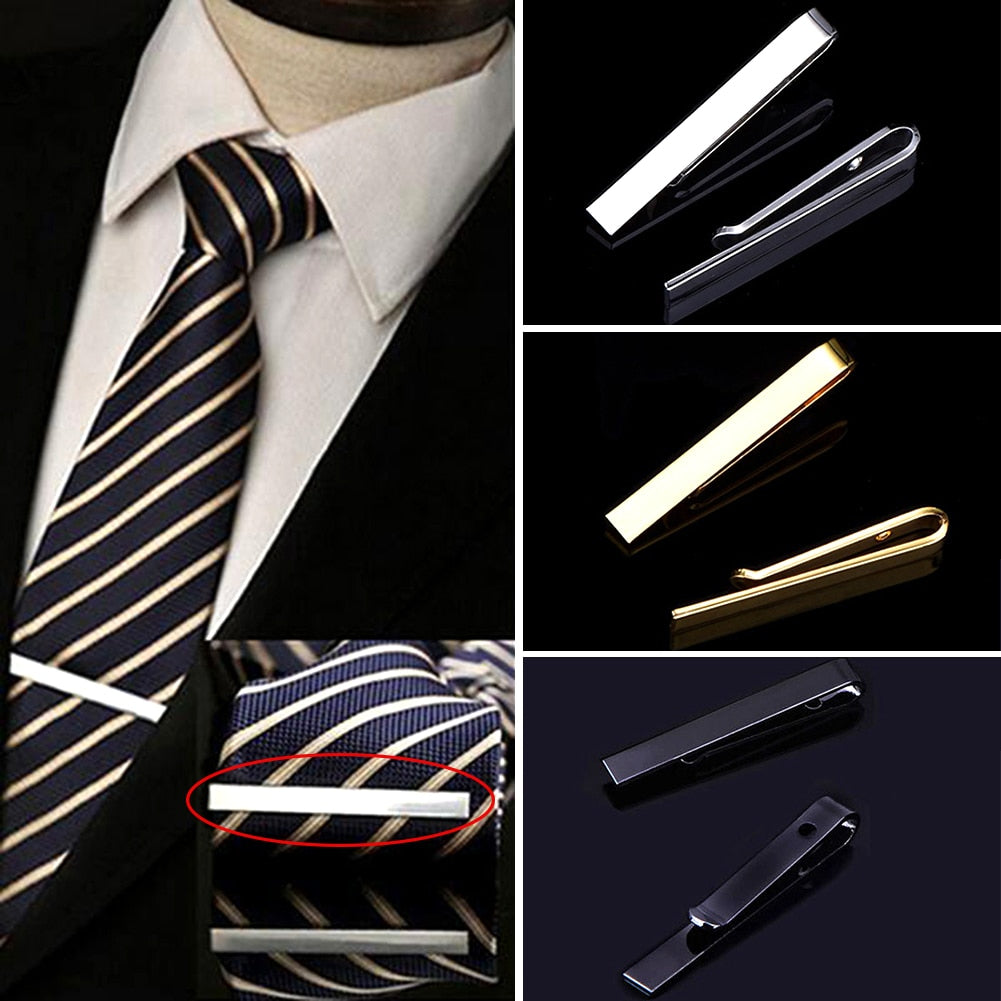 MilkySkinForever Tie Clip Fashion Style Necktie Men Metal Silver Simple Bar Clasp Practical Bowtie Clasp Tie Pin For Mens Gift Accessories