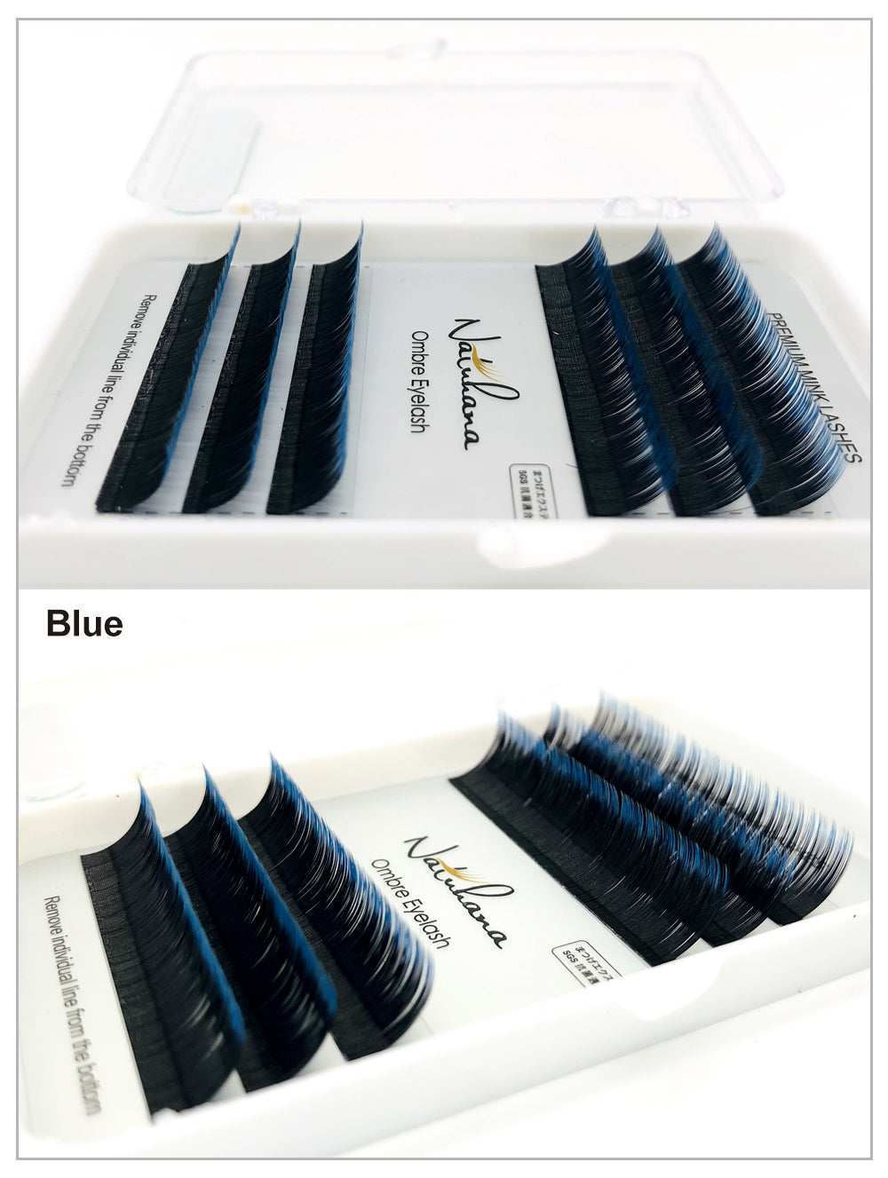 MilkySkinForever Free shipping 6Rows Ombre Blue Purple Color Eyelash Extension Individual Faux Mink False Eye Lashes Professional Salon