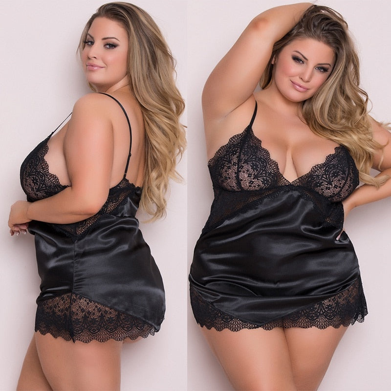 MilkySkinForever Women Lace Deep V Night Dress Stitching Hollow Sexy Lace Sleepwear Satin Nightwear Lady Lingerie Nightgown plus Size 5XL